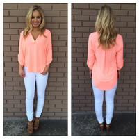Pop Coral Natalie Blouse