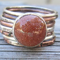 Goldstone Ring by RootsJewelry on Etsy
