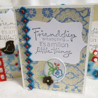 Friendship Note Cards Set of 5 Blue, and Beige with Birds and Hearts
