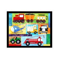 "Children's Wall Art Print, Transporation Art, VROOM #2, 8""x10"" Art for Boys Room"