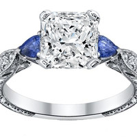 Engagement Ring - Radiant Cut diamond Engagement Ring Blue Sapphire Pear side stones Hand engraved White Gold band - ES1103RA
