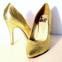 Gold Metallic Mock Snakeskin Stiletto Shoes