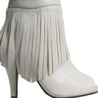 White Fringed Ankle-Boots with Heel and Peep Toe