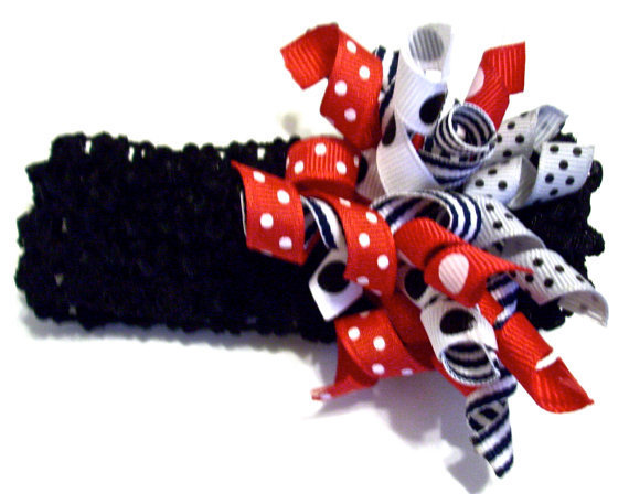 Korker Ribbon Headband Black Red White Cute by PreciousBowtique