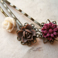 Earth Tone Flower Hair Pins by PiggleAndPop