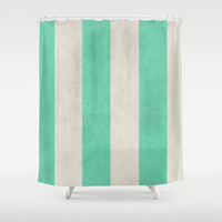 vintage mint stripes Shower Curtain by her art