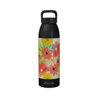 Cute Spring Garden Floral Pattern Water Bottle