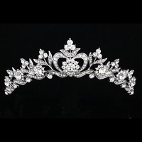 Bridal Floral Rhinestone Crystal Prom Wedding Crown Tiara 8905