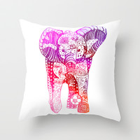 An Elephant Plays Soccer Throw Pillow by DEPPO