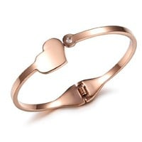 Women's Rose Gold Plating Stainless Steel Bracelet Heart Wristband