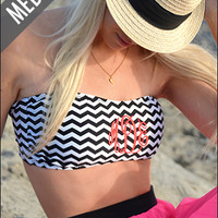 Monogrammed Chevron Bathing Suit Bandeau Tube Top | Marley Lilly