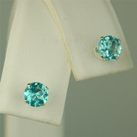 Apatite Stud Earrings Sterling Silver 5mm Round 1ctw