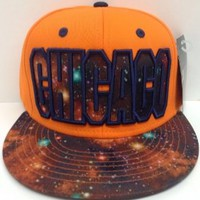 Orange Galaxy Print Chicago Snapback Hat Cap