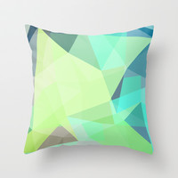 Fragments Cyan Throw Pillow by House of Jennifer