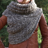 SALE! Katniss inspired cowl vest shawl armor in brown MADE to ORDER