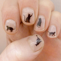 black cat nail transfers