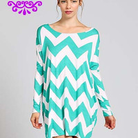Chevron Shift Dress Mint