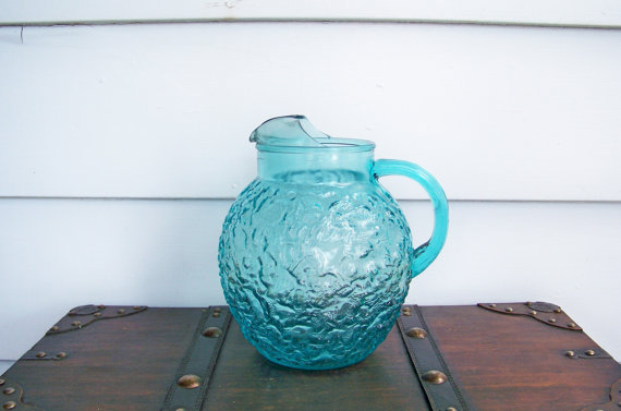 Aqua Glass Pitcher Anchor Hocking Vintage 1960s by EraGlassCo