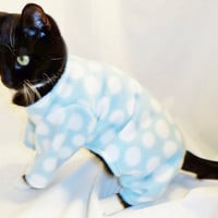 CoolCats Aqua and White Polka Dot Fleece Cat Pajamas