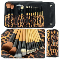 12 Pcs Leopard Makeup Brush Set Leopard Holder Bag