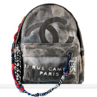 Graffiti printed canvas backpack... - CHANEL