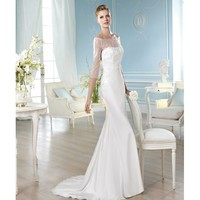 Sweep Mermaid Off the Shoulder 3/4 Sleeves Satin Wedding Dress
