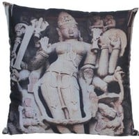 Unique, Large 18 X 18 Inch Indian Goddess Cushion Covers / Throw Pillow Covers from India with Hidden Zippers for Your Couch, Sofa, Ottoman, Rocking Chairs and Beds - Decorative Cushion Cover Pillow Cases for Your Patio, Living Room, Family Room and Bedroo