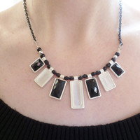cream and black geometric necklace black chain necklace silver and black beads necklace for women fashion bead jewellery handmade necklace