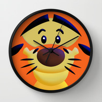 Cute Orange Cartoons Tiger Decorative Circle Wall Clock Watch by Three Second