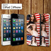 Lana Del Rey and American Flag case for iPhone 4, 4S, 5, 5S, 5C and Samsung Galaxy S3, S4
