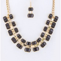 Square Gem Collar Necklace Set - 29 N Under