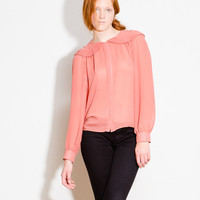 Sheer Blouse with Pleated Collar