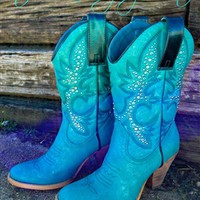 Studded Giddy Up Boot - Turquoise