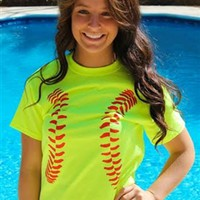 Softball Tee - Neon Yellow