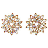 Rhinestone In Bloom Earrings - Gold
