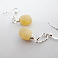 #Accessories #Jewelry #Earrings #Yellow #Jade #Dangle #Spring #Summer #Handmade #Etsy