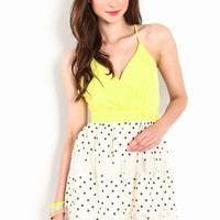 CRISS CROSS DOTTED DRESS