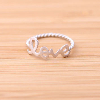 love ring with twisted ringline, silver   bythecoco