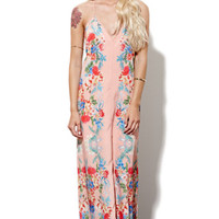 Keepsake Botanic Maxi Dress - Womens Dress - Peach -