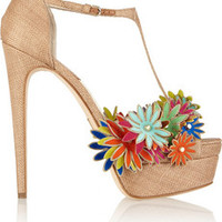 Brian Atwood Sigrid floral-embellished woven sandals – 72% at THE OUTNET.COM