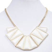 Geometric Faceted Stone Bib Necklace | Wet Seal