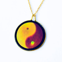 Holographic Yin Yang Necklace / Hologram Pendant / 90s Club Kid Necklace