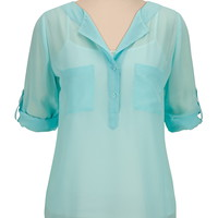 2 pocket chiffon pullover blouse
