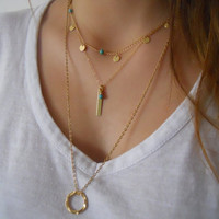 Layered Coins And Beads Necklace Set. Gold Layered Necklace. Charms, Turquoise and Bar Layered Necklaces. Pick Your Beads Color