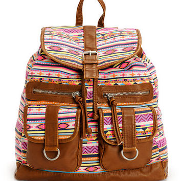 T-Shirt & Jeans Tribal Print Canvas & PU Rucksack Backpack