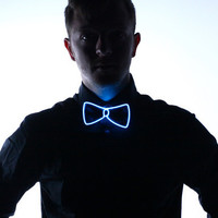 Light Up Bow Tie- Blue - Electric Styles