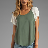 Splendid Color Blocked Shirt in Green