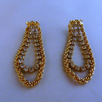 Vintage gold rhinestone dangle earrings rope costume jewelry wedding