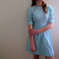 Vintage Blue Mini Dress Prairie Amish Conservative Striped Stripe Country Sea Turquoise Knee Length Babydoll
