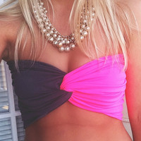Neon Pink and Grey Twist Bandeau
